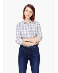 Mango | Blue Check Cotton Shirt | Lyst