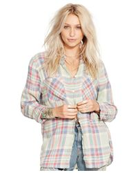 Denim & Supply Ralph Lauren | White Plaid Boyfriend Shirt | Lyst