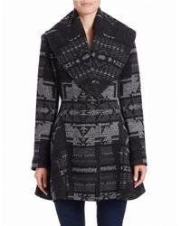 Kensie | Gray Printed Wrap Coat | Lyst