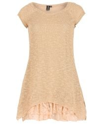 Izabel London - Natural Knit Tunic Top With Frilled Under Layer - Lyst
