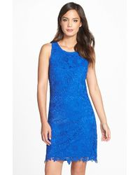 Eci - Blue Lace Sheath Dress - Lyst