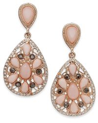 INC International Concepts | Rose Gold-tone Pink Stone And Crystal Teardrop Earrings | Lyst
