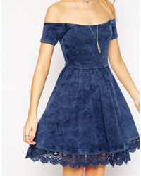 ASOS - Blue Skater Dress With Off Shoulder Detail And Crochet Hem - Lyst