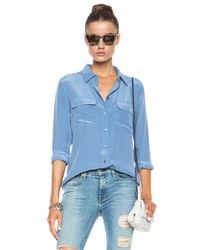 Equipment - Blue Slim Signature Silk Blouse - Lyst