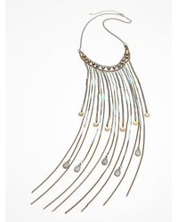 Free People | Blue Chloe Long Beaded Fringe Necklace | Lyst