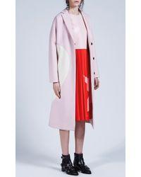 MSGM | Heart Intarsia Pale Pink Wool Felt Coat | Lyst