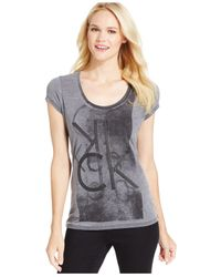 Calvin Klein Jeans | Black Graphic Scoop-neck T-shirt | Lyst