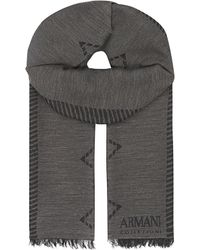 Armani | Gray Chevron Border Scarf, Men's, Dark Grey for Men | Lyst