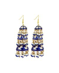 Chamak by Priya Kakkar - Blue Tier Drop Earrings - Lyst