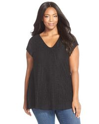 Sejour | Black Lace Front Short Sleeve Tee | Lyst