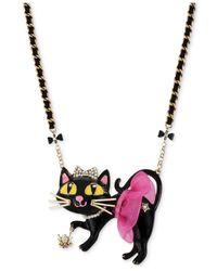 Betsey Johnson | Metallic Antique Gold-tone Tutu Cat Pendant Necklace | Lyst