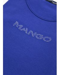 Mango - Blue Logo Cotton T-shirt - Lyst