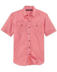 Sean John - Red Short-sleeve Gingham Shirt for Men - Lyst