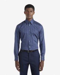 Ted Baker - Blue Satin Striped Shirt for Men - Lyst