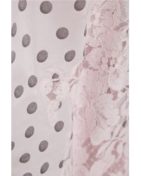 Rosamosario - Pink Dots And Lots Lace-Trimmed Polka-Dot Silk Pajama Pants - Lyst