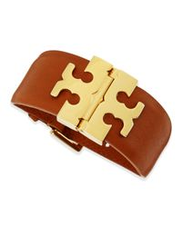 Tory Burch | Brown Wide Thinged Leather Bracelet Tan | Lyst
