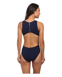 Michael Kors | Blue Draped Solids Open Back Maillot | Lyst