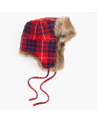 J.Crew | Blue Faux-fur Trapper Hat In Plaid | Lyst