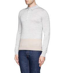 Hardy Amies - Gray Colourblock Knit Polo for Men - Lyst