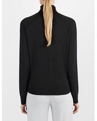 JOSEPH - Black Fine Silk High Neck Top - Lyst