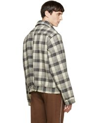 Gosha Rubchinskiy - Gray Grey Check Flannel Shirt Jacket for Men - Lyst