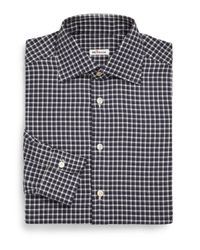 Kiton | Black Plaid Cotton Dress Shirt for Men | Lyst