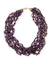Kenneth Jay Lane | Purple Multi-strand Chip Beaded Antique Style Necklace | Lyst