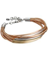 Fossil | Metallic Mini Leather Corded Bracelet | Lyst