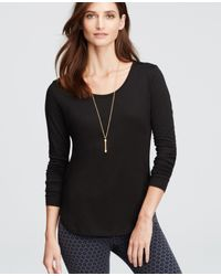 Ann Taylor | Black Scoop Neck Long Sleeve Tee | Lyst