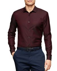 Calvin Klein | Red Solid Sportshirt for Men | Lyst