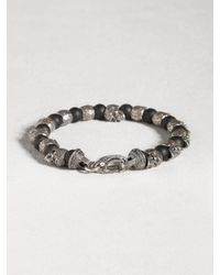 John Varvatos - Black Skull & Onyx Beaded Bracelet for Men - Lyst