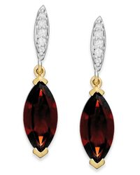 Macy's | Metallic Garnet (2-3/4 Ct. T.w.) And Diamond Accent Drop Earrings In 14k Gold | Lyst