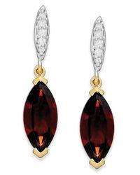 Macy's - Metallic Garnet (2-3/4 Ct. T.w.) And Diamond Accent Drop Earrings In 14k Gold - Lyst