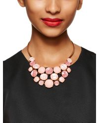 kate spade new york - Pink Smell The Roses Bib Necklace - Lyst