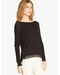 Halston | Black Chiffon Insert Sweater | Lyst