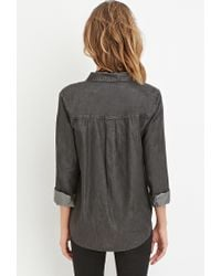 Forever 21 | Gray Chambray Pocket Shirt | Lyst