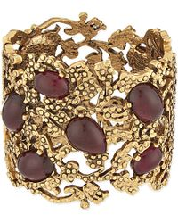 Oscar de la Renta | Metallic Bordeaux Filigree Hinged Cuff - For Women | Lyst