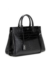 Saint Laurent - Black Cabas Rive Gauche Medium Embossed Leather Tote - Lyst
