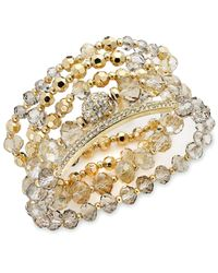 INC International Concepts | Metallic Gold-tone Black/grey Shimmer Crystal Stretch Bracelet Set | Lyst