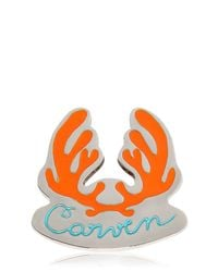 Carven - Orange Antlers Logo Metal Pin - Lyst