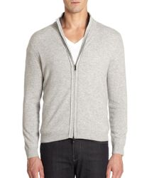 Saks Fifth Avenue Black - Gray Cashmere Zipfront Sweater for Men - Lyst