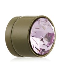 Givenchy | - Small Round Earrings In Lacquered Pewter And Purple Crystal | Lyst