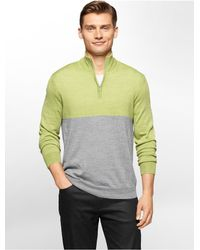 Calvin Klein - Green White Label Colorblock Merino Wool Blend 1/4 Zip Sweater for Men - Lyst