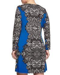 Melissa Masse - Blue Long-sleeve Lace-print Dress - Lyst