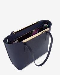 Ted Baker - Blue Crosshatch Leather Shopper Bag - Lyst