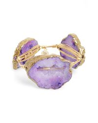Bourbon and Boweties | Metallic Extra Extra Large Stone Bracelet - Purple | Lyst