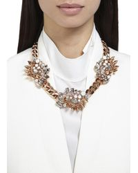 Mawi | Metallic Triple Rose Gold Plated Swarovski Necklace | Lyst