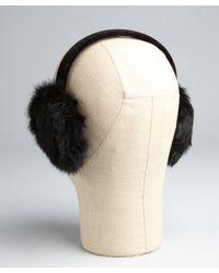 Surell - Black Rabbit Fur And Velvet Earmuffs - Lyst