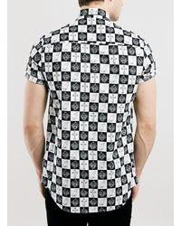 TOPMAN - Black Cream Crosses Short Sleeve for Men - Lyst
