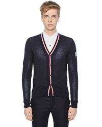 Moncler Gamme Bleu - Blue Virgin Wool Cardigan for Men - Lyst